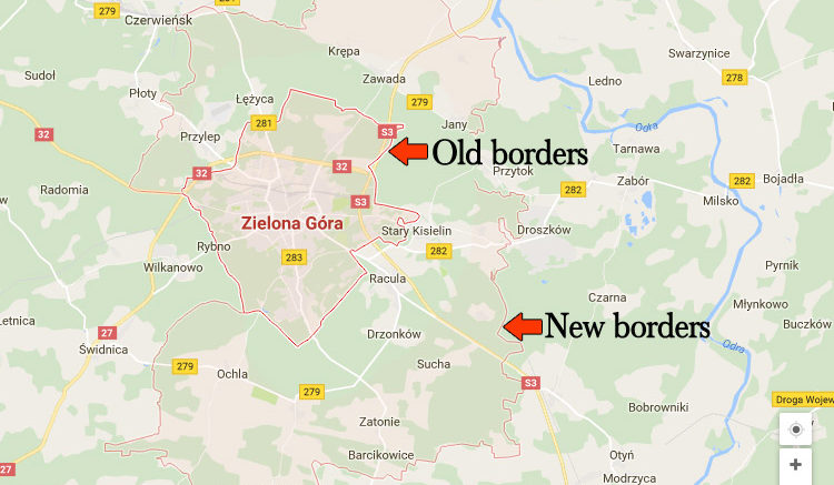 zielonagora new vs old borders
