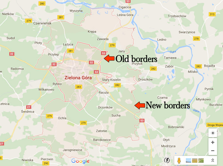 zielonagora new vs old borders